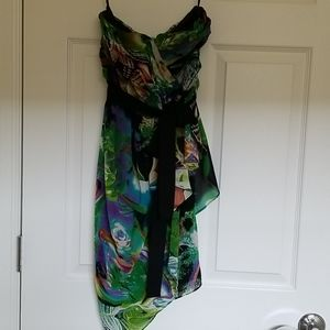 Multicolored, chiffon-like, strapless, party frock
